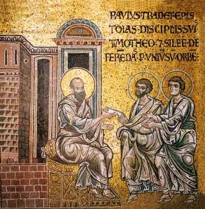 Saint Paul remettant les épîtres à Timothée