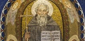 Saint-Benoît-de-Nursie-père-du-monachisme-occidental-Mosaïque-Basilique-de-Santa-Prassede-Rome